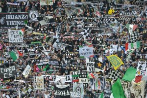Juventus' supporters cheer their team du