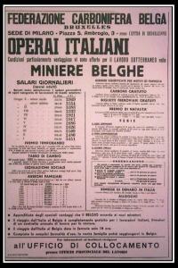 (manifesto per reclutare minatori italiani. foto presa da web)