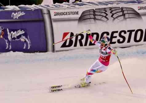 L'arrivo di Lindsey Vonn. Vittoria numero 62 con la quale ha eguagliato il record di Annemarie Moser-Proell
