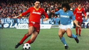 Ancelotti vs. Maradona. Roma-Napoli anni '80 è anche questo (foto presa da marte.com)