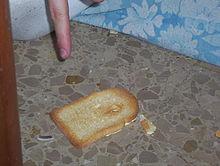 Una fetta di pane imburrata cade sempre dalla parte del burro.  (foto: it.wikipedia.org)